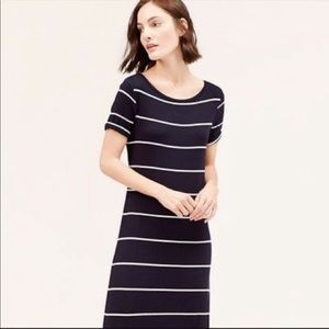 EUC LOFT Navy Striped Maxi Dress